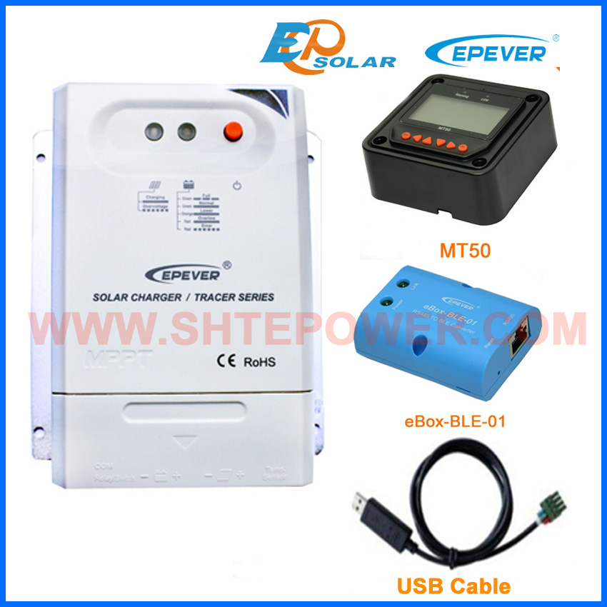 Tracer3210CN Max Pv Input 100v mppt charge solar controller 12v 24v with MT50 remote meter BLE box and USB 30A 10a mppt solar charge controller remote meter mt50 epever battery regulator 100v pv input 12v 24vdc auto with lcd display