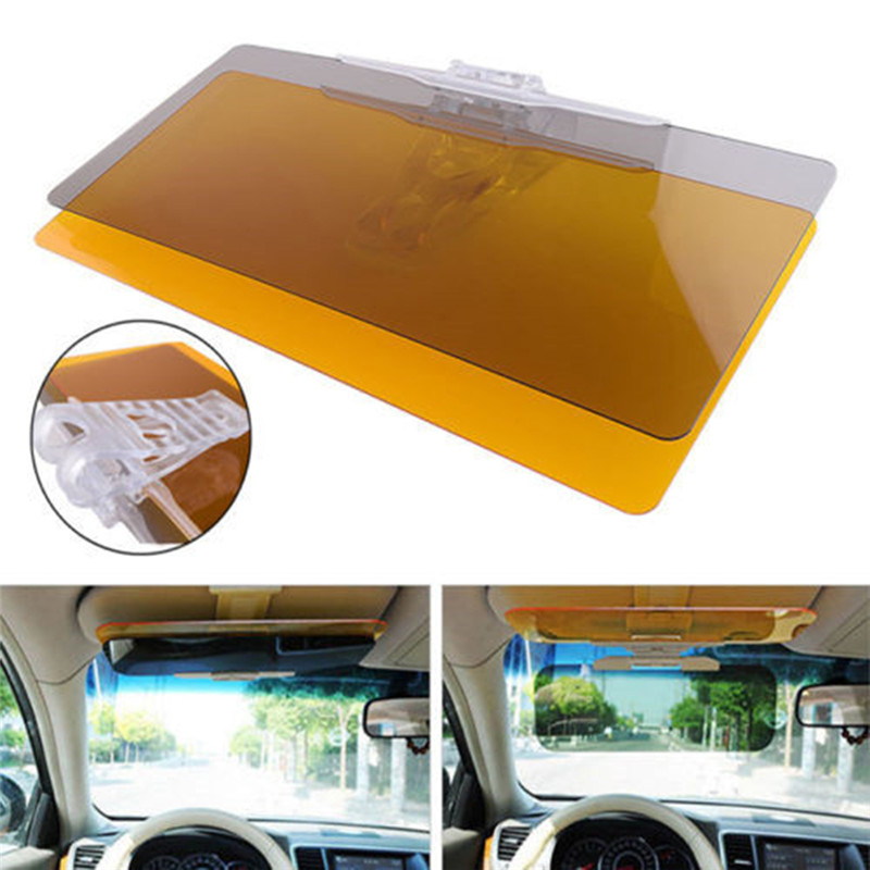 2 in 1 Car Sun Visor HD Anti Sunlight Dazzling Goggle Day Night Vision Driving Mirror UV Fold Flip Down Clear View Mirrors