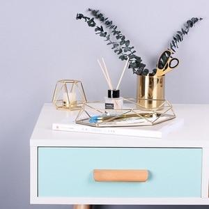 Image 5 - 3D Nordic Style Metal Mirrored Storage Tray Hexagonal Wire Storage Basket Holder Desktop Cosmetic Jewelry Organizer Home Decor