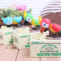 Unique Parrot Piggy Bank Cute Kid S Toys Cartoons Power Coins Eating Birds Shake Money Box
