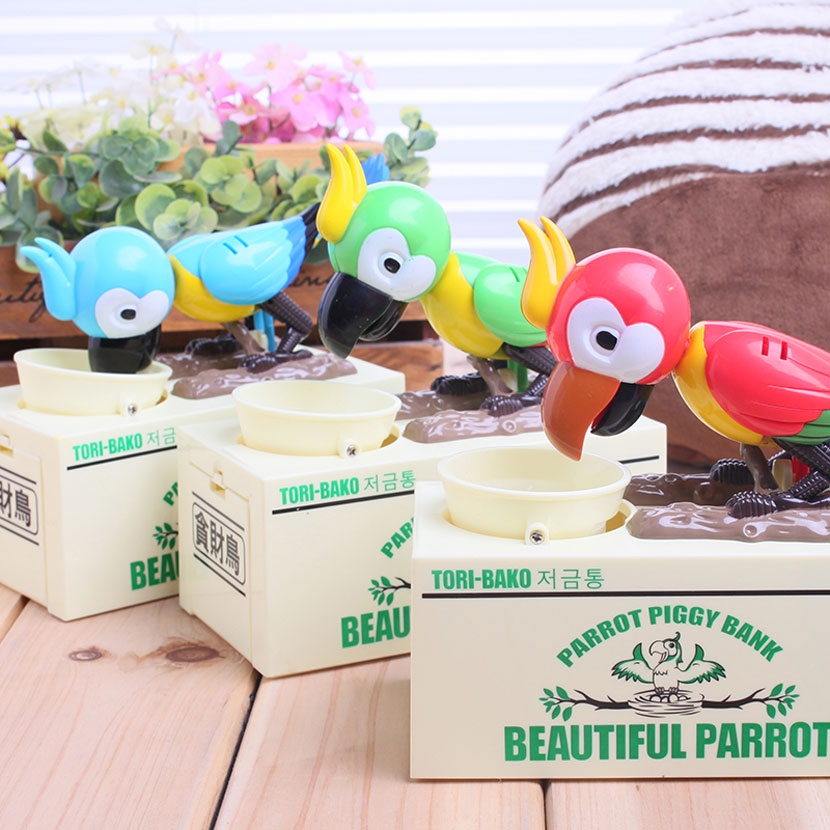 Unique Parrot Piggy Bank Cute Kid's Toys Cartoons Power Coins Eating Birds Shake Money Box Coin Cans Hot Fashion Home Decoration on eating