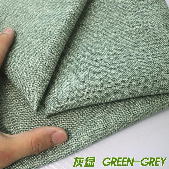 Merveilleux Green Grey Compound Lining Linen Fabric Sofa Cushion Fabirc Sewing Cloth  Outdoor Linen Blend Fabric