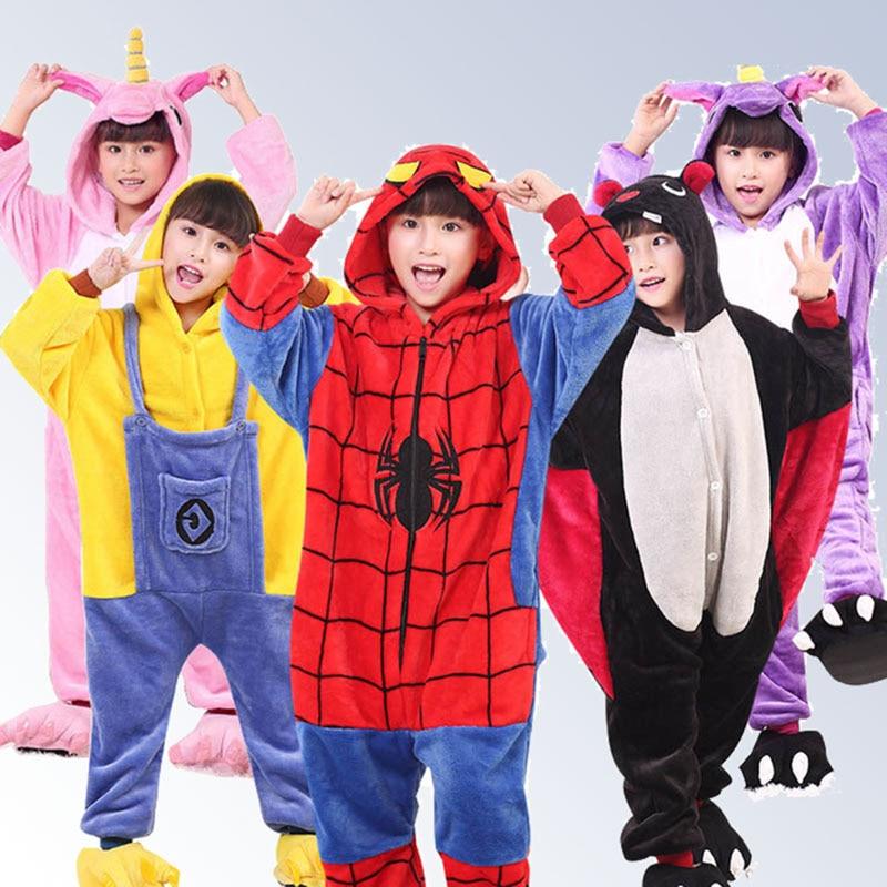 Kids Pajamas Flannel Animal Pegasus Stitch Unicorn Cosplay Pyjamas For Boys Girls Winter Warm Children Sleepwear Onesies 4-12Y