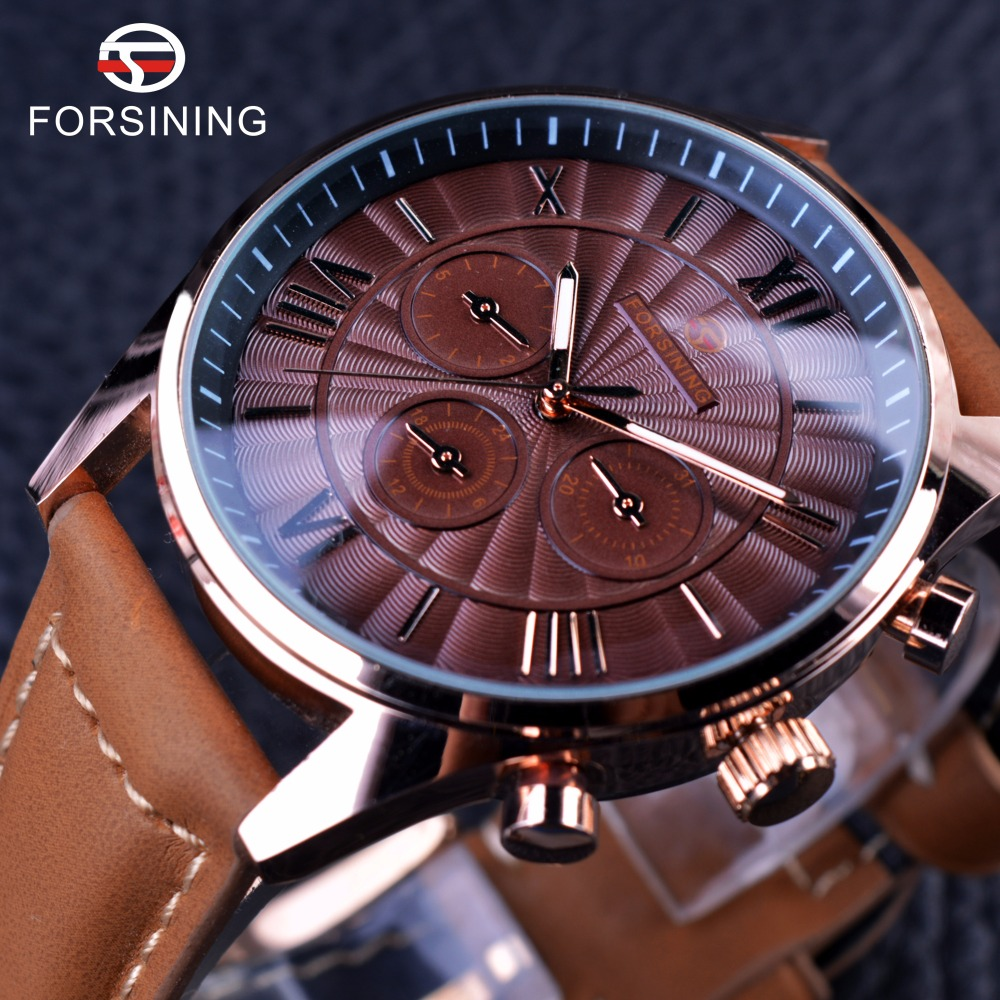 Forsining Noble Series Swirl Dial Suede Strap 6 Hands Calendar Display Mens Watches Top Brand Luxury Mechanical Watch Clock Men new winter girls coat cotton girls jacket thick fake fur warm jackets for girls clothes coats solid casual hooded kids outerwear