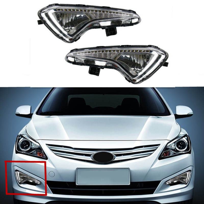 2X LED Car External Light Source Fit For Hyundai Accent Solaris Verna 2010-2012 Daytime Running Light Fog Light DRL Xenon Lamp car led drl daytime running light for accent 2010 2013 wireless control