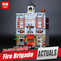 Lepin 15004 2313Pcs City Street Creator Fire Brigade Model Educational Building Kits Blocks Bricks Compatible With