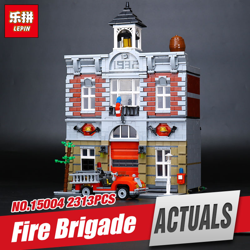 Lepin 15004 2313Pcs City Street Fire Brigade Model Educational Building Kits  Blocks Bricks Compatible with 10197 for children lepin 15004 2313pcs city creator series fire brigade model building blocks bricks toys for children gift compatible 10197