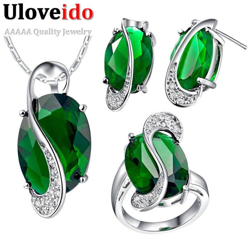Uloveido 49% Off Green CZ Diamond Wedding Jewelry Sets for Women 2016 Party Crystal Engagement Jewelry Girl's Jewelry Set T464