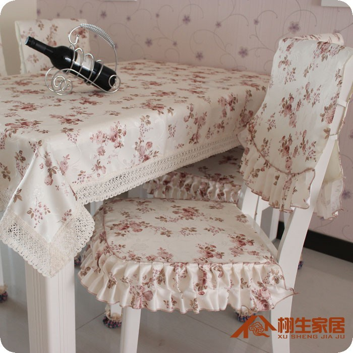 ... A Set Pastoral Fabric Cotton Beautiful Chair Cloth Flower Chair Cover +  Seat Cushion Home Chair ...