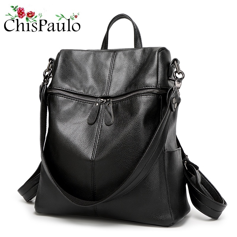 CHISPAULO Genuine Leather Women Backpack Large Capacity Travel Bags High Quality Trendy Business Bag For Women Laptop Bag N114 high quality brand polo genuine golf clothing bag of men s shoes bags large capacity oxford fabric 2016 new travel apparel bags