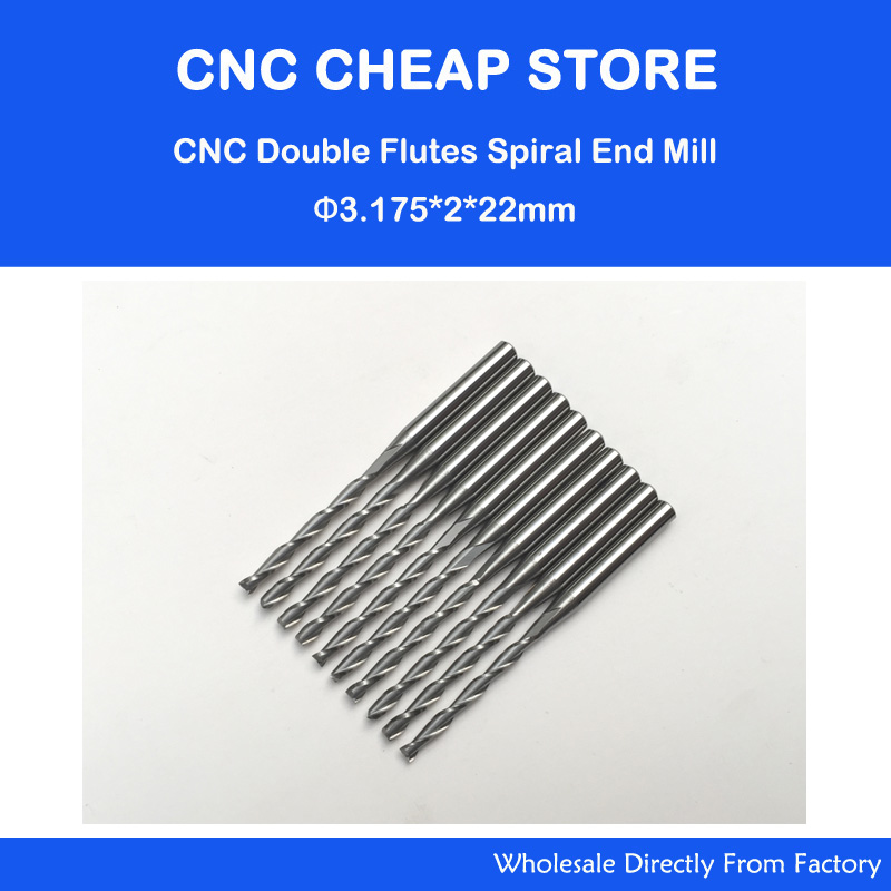 10pcsx1/8 2mm Carbide CNC Double/Two Flute Spiral Bits CEL 22mm end mill engraving cutter 6 32 super solid carbide one flute spiral bits for cnc engraving machine aaa series