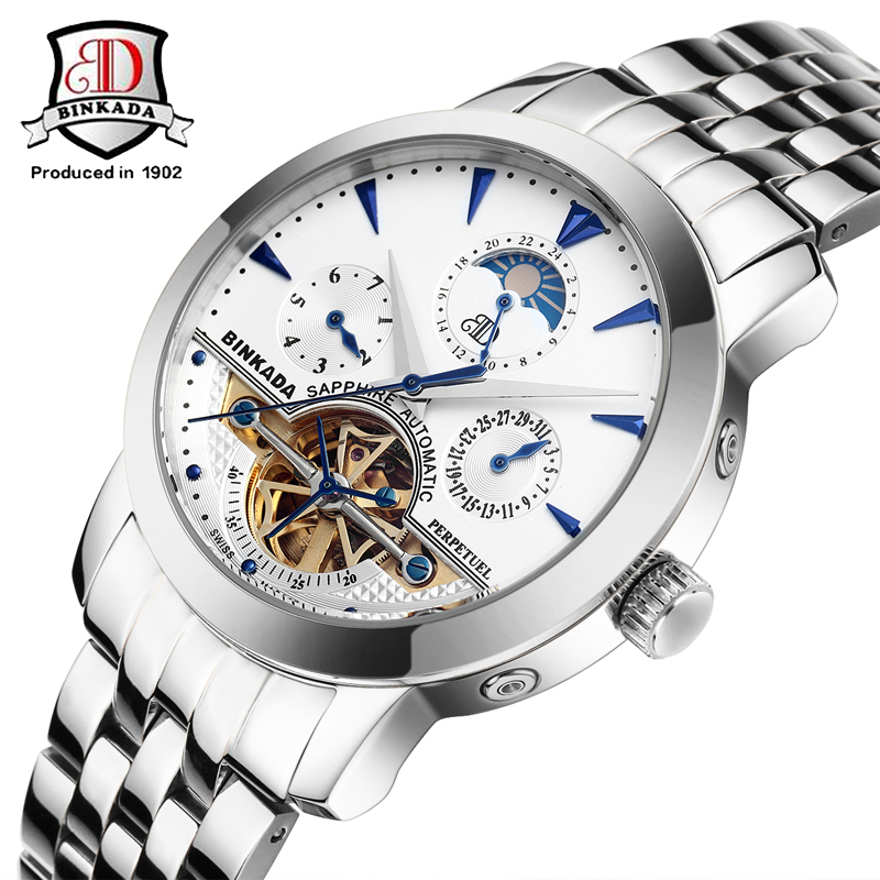 BINKADA Brand Men's Moon Phase Automatic Mechanical Watches Men Dive Full steel Watch Casual Business Wristwatches reloj hombre цена