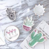 Small Hamsa Sun Hand Flamingo Cactus Pineapple Ceramic Dish Plate Decorative Jewelry Trinket Dish Necklace Storage wholesale