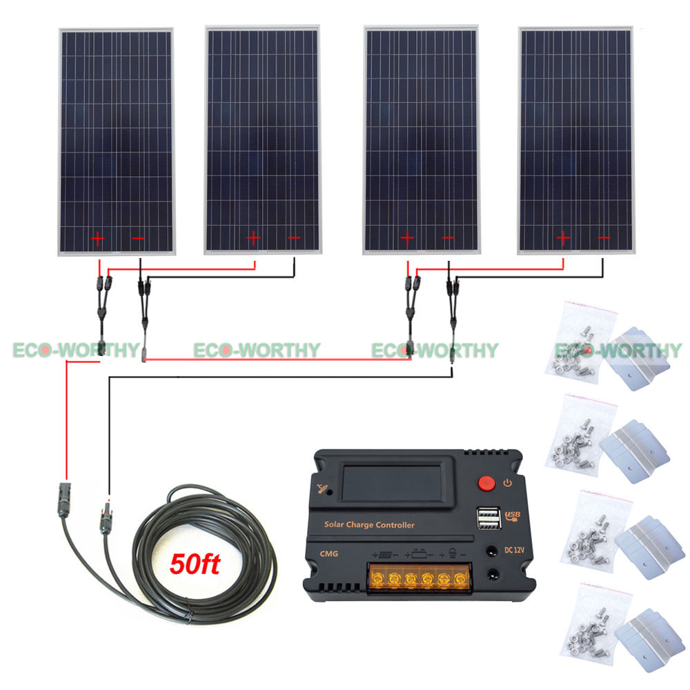 4x 160W 600W 24V Off Grid Solar System W/ 20A Temperature Reguator for Camp Home micro inverters on grid tie with mppt function 600w home solar system dc22 50v input to ac output for countries standard use