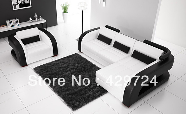 Merveilleux Free Shipping Moden Design Black And White 123 Combination Cattle Leather  Sofa Classic Combination Sofa Set