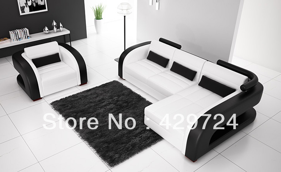Free Shipping Moden Design Black And White 123 Combination Cattle Leather  Sofa Classic Combination Sofa Set With Chair L9122-2