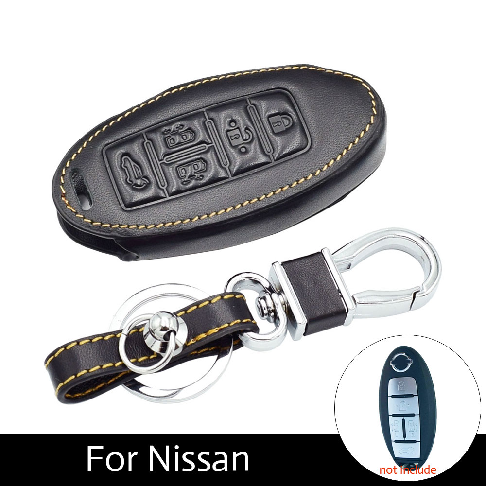 Genuine Leather Car Key Case Cover For Nissan Quest 5 Buttons With Style Chain