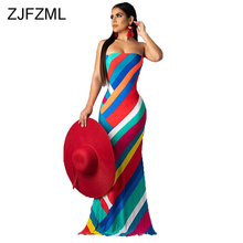Colorful Striped Print Summer Dress 2019 Women Lace Up Backless Off Shoulder Beach  Vintage Strapless Maxi Bohemian