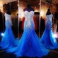 Cristal Vestido de Noite Abendkleider 2016 Luxo Mermaid Prom Vestido Sweetheart Frisada Strass Azul Royal Longo Frisado do baile de Formatura