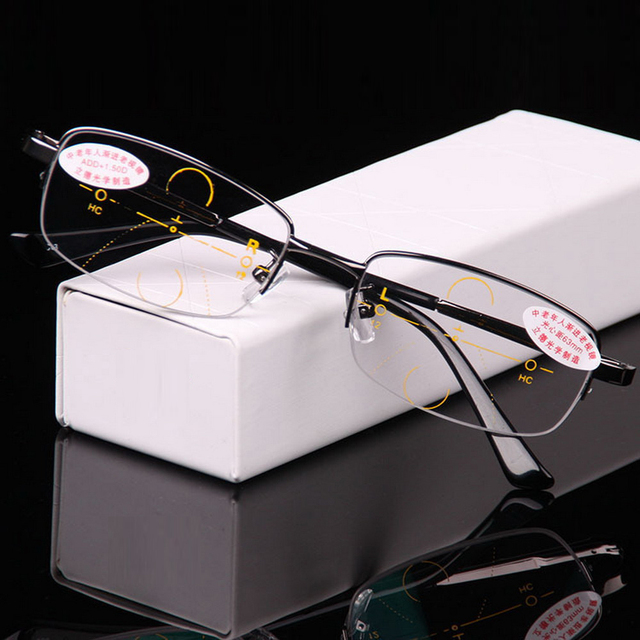 = CLARA VIDA = Intelligence Progressive Multifocal Commercial Reading Glasses Bifocal Three Colors Ultra Light +1 +1.5 +2 TO +4