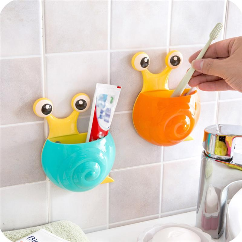 Image 2 - 4pcs Creative Toothpaste Holder Cute Snail Kids Wall Suction Cup Toothbrush Container Travel Bathroom Organizer(Random Color)-in Toothbrush & Toothpaste Holders from Home & Garden