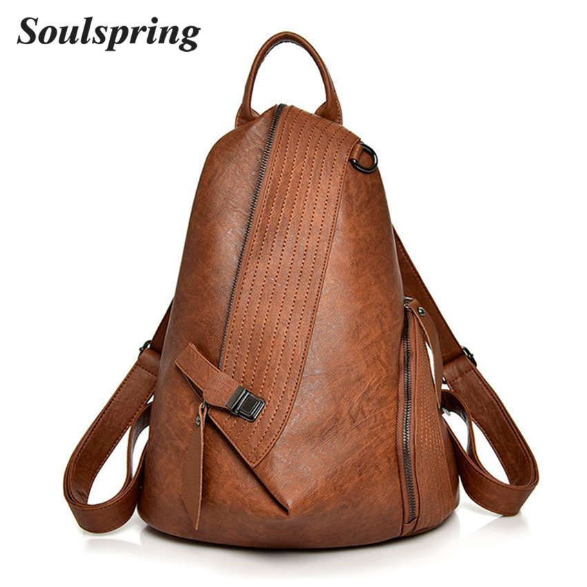 Fashion Leather Backpack Female Travel Backpack Women School Bags For Teenage Girls Backpacks Sac A Dos 2018 Hot Vintage Mochila fashion genuine leather backpack women school bags for teenage girls backpacks high quality rivet ladies backpack sac a dos 2018