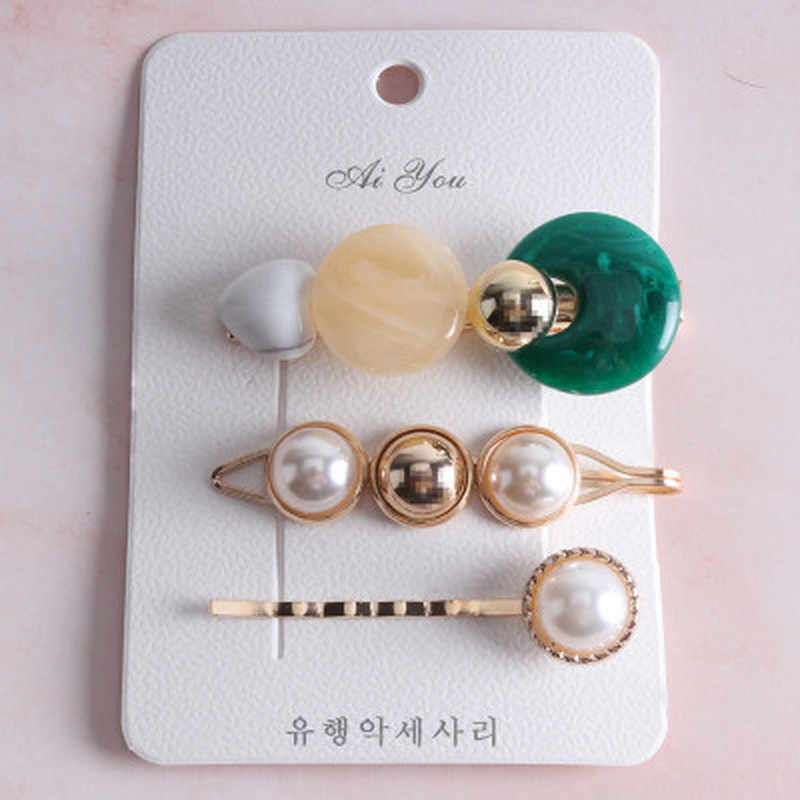 3Pcs/set Fashion Pearl Metal Gold Color Hair Clip Bobby Pin Barrette Hairband Hairpin For Women Girls Hair Styling Tools New