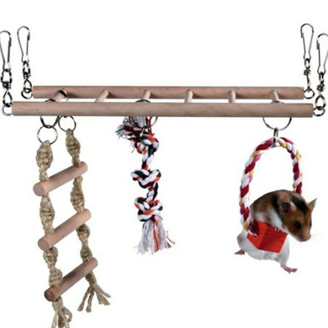 1PCS Suspension Bridge Parrot Climbing Ladder Pet Toys Birds Hamster Squirrel Cage Hanging Bridge Ladder Small pet Toys Chew Toy