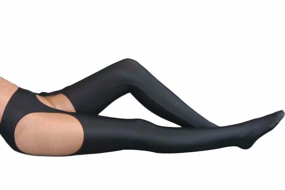 Black Lycra Spandex Womens Tight Belt Sexy Zentai Stocking Halloween Party Cosplay Zentai suit