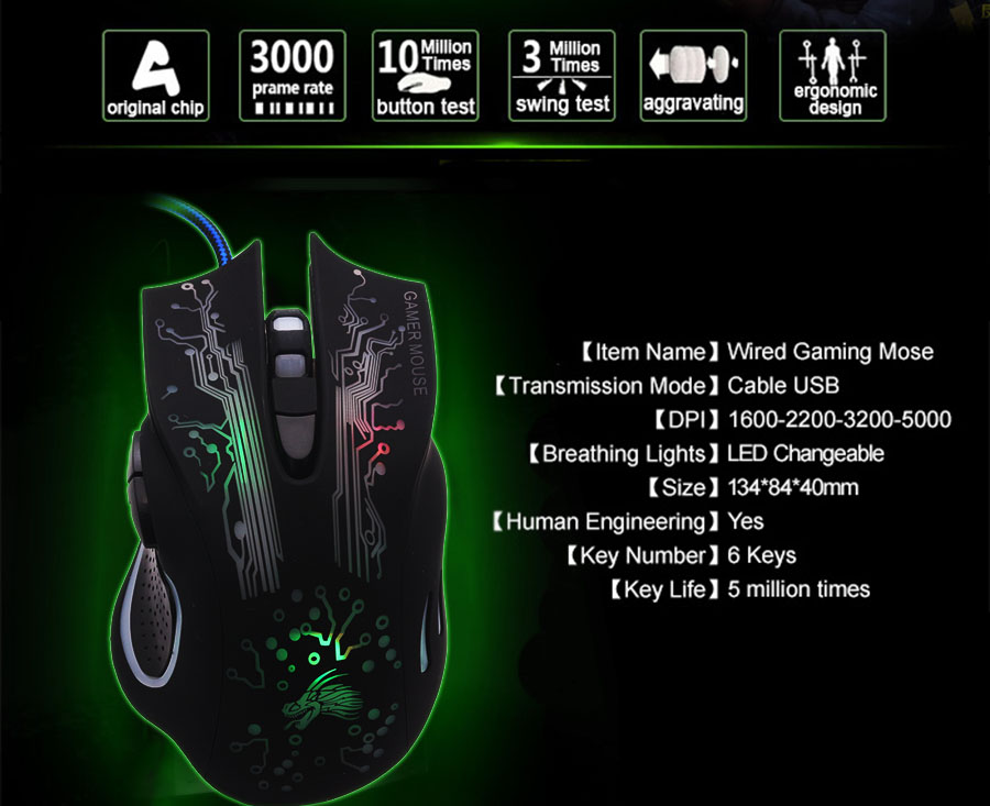 3200 DPI LED Optische 6D USB Bedrade Gaming Game Muis Pro Gamer - Computerrandapparatuur - Foto 4