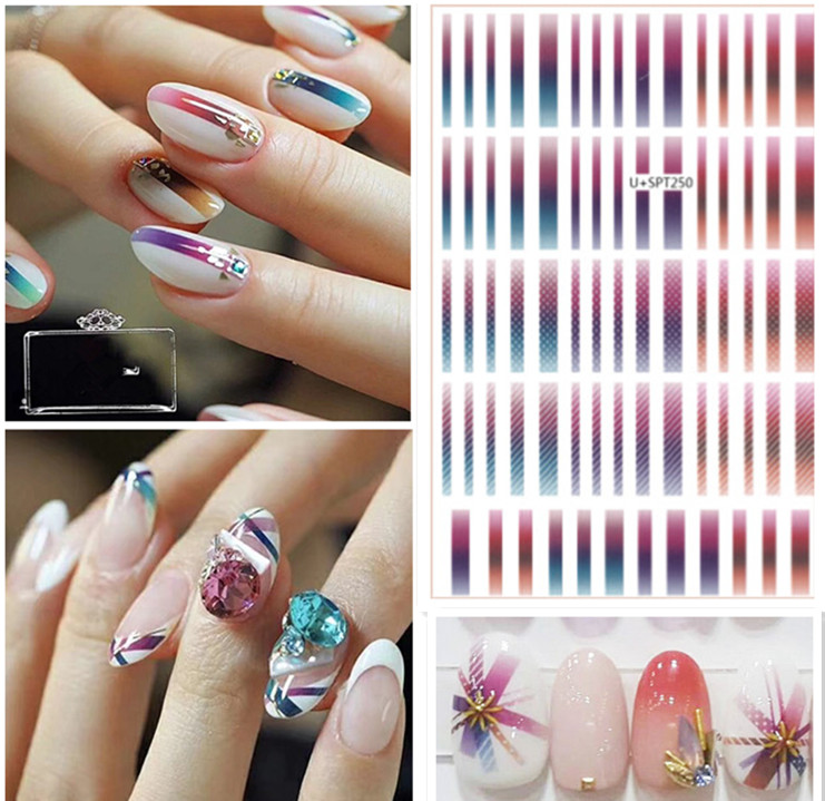 Newest U+SPT249 250 colorful lines 3D nail manicure back glue decal decoration design sticker