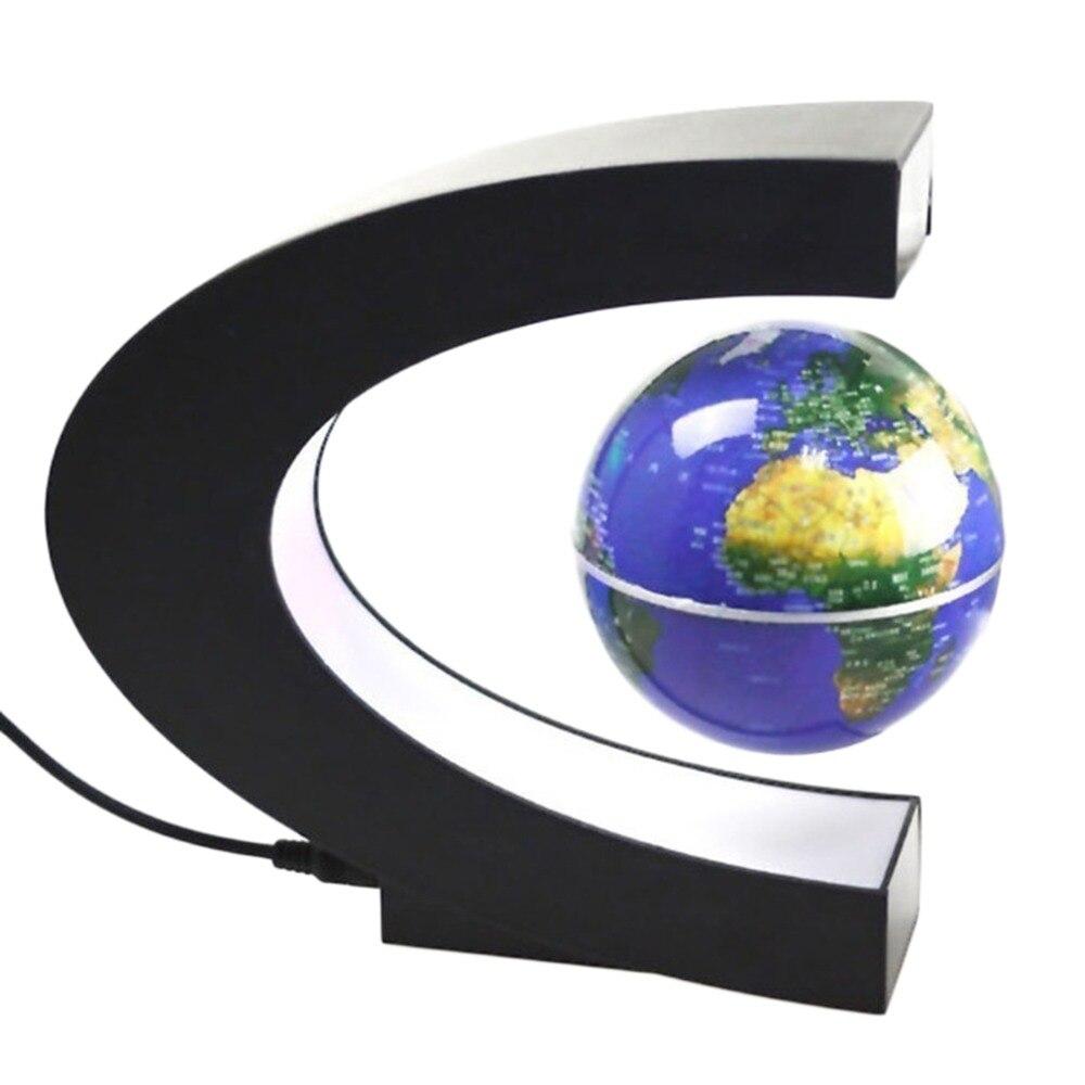 C di Figura LED Globo Mappa Del Mondo Elettronico di Levitazione Magnetica di Galleggiamento del Globo Antigravità HA CONDOTTO LA Luce Nero Blu Trasporto di Goccia