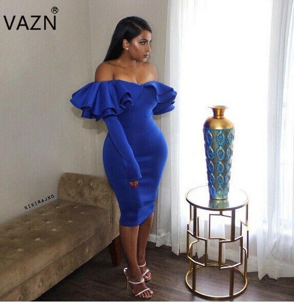 c1a38fd7f5 VAZN Top Quality High Design 2017 Bandage Dress Off The Shoulder Midi Dress  Sexy Strapless Club Dress SY0809