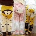 Adorável bebê meninas leggings, crianças de algodão animal print legging infantis calças pp, calças do bebê + bebê anti-meias antiderrapantes 0 a 24 m