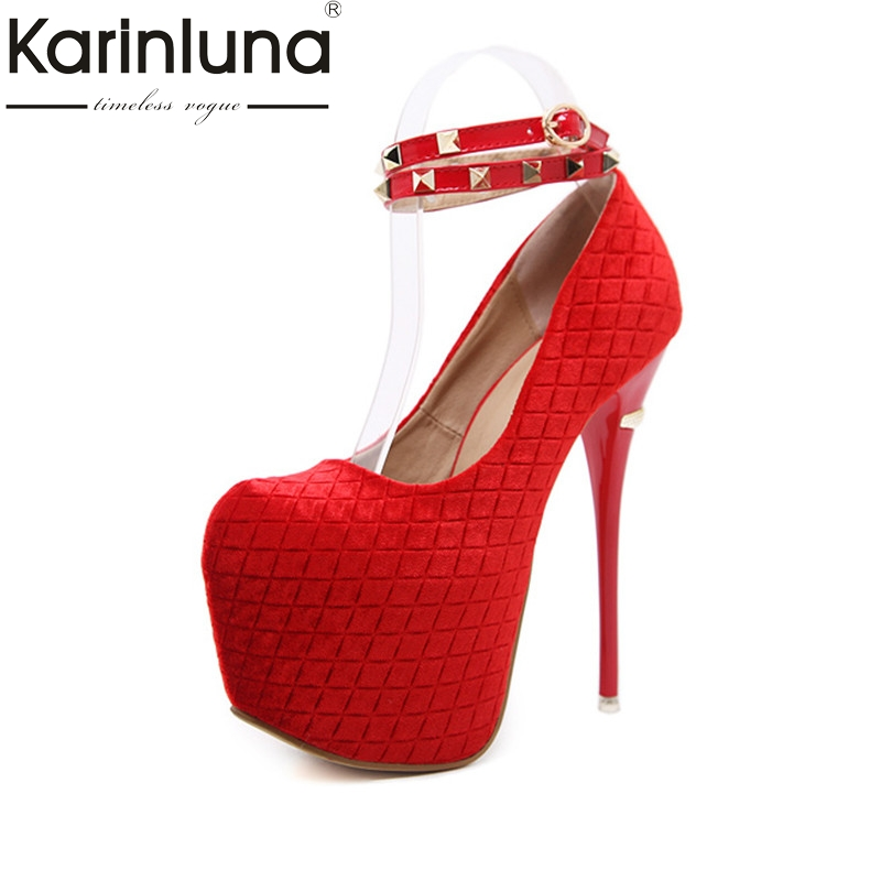 Фотография KarinLuna 2018 Spring Autumn Big Size 34-40 Wedding Party Pumps Rivet Thick Platform Shoes Woman Super High Heels Lady Shoe