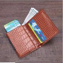 Wholesale Anti-Rfid Card Id Holders Women Credit Holder Pu Leather Fashion Slim Mini Wallet Aluminum Business Case