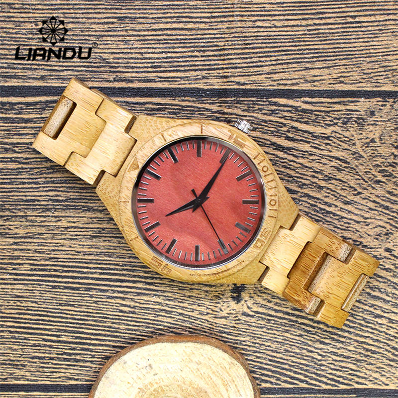 LIANDU Men's Bamboo Wooden Watch Red Dial with Full Wood Strap Glow Analog Quartz Movement Male Casual Wristwatch with Gift Box natural hand made classic red wooden men quartz watch bracelet clase full wood band simple scale dial cool gift reloj masculino