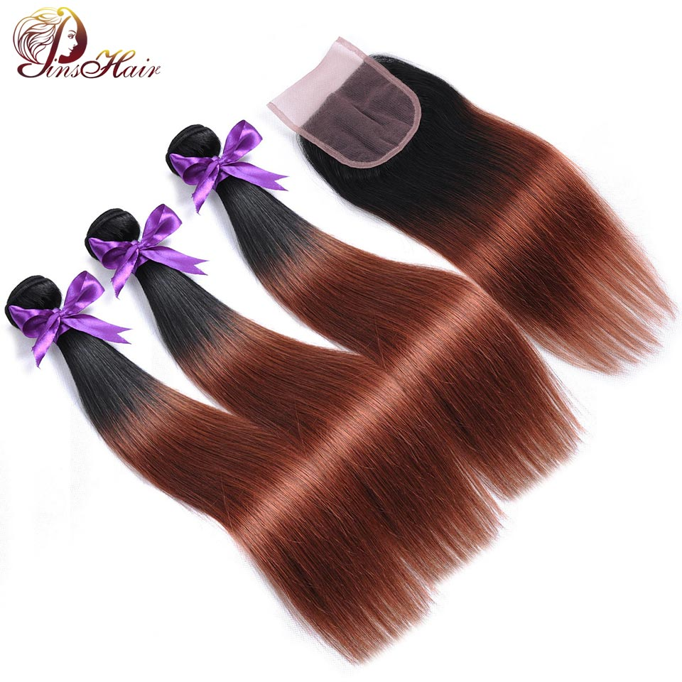 Ombre Bundles With Closure Dark Red Hair 1B 33 Straight Brazilian Human Hair Weave 3 Bundles