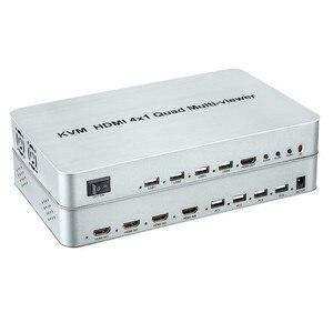 Image 2 - KVM HDMI 4X1 Quald מוטי הצופה Switcher ספליטר מתג חלק מתאם עם שלט רחוק עבור HDTV מחשב מחשב משלוח חינם