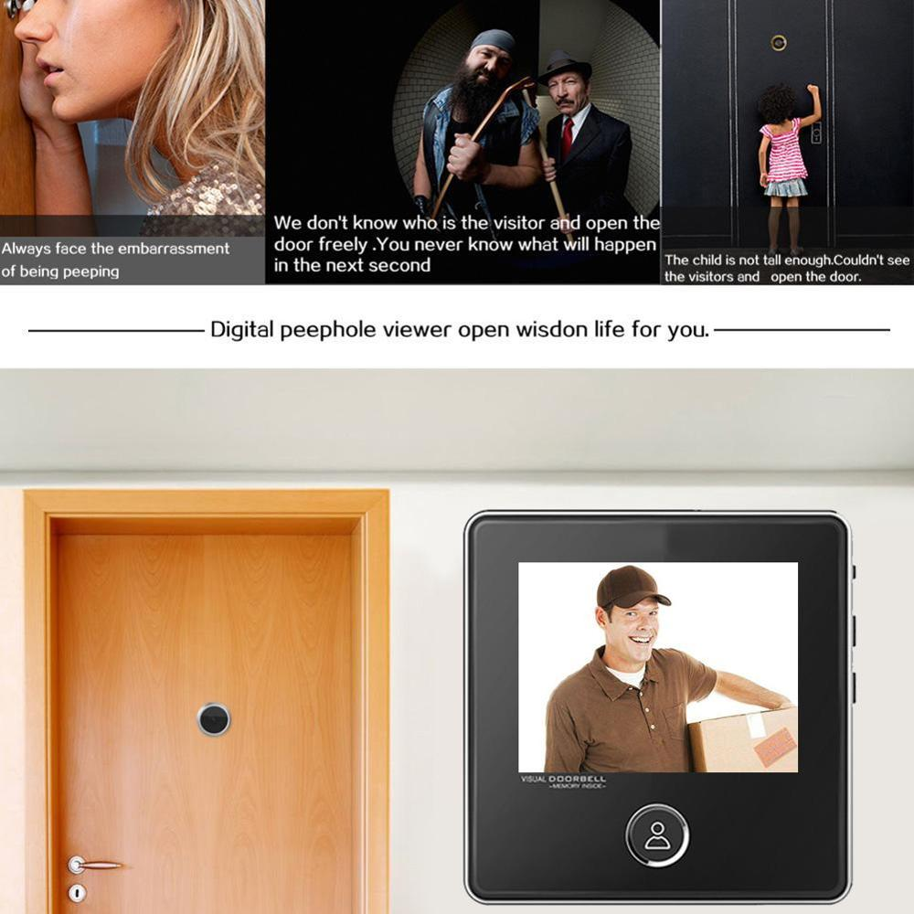 3.0 Inch 120 Degree Wide Angle Digital LCD Peephole Viewer Eye Doorbell Digital HD Eye Video Recorder 1MP Camera Dropshipping
