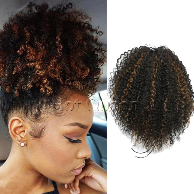 Kinky Curly Ponytail Extension High Quality Highlight Human Ponytail