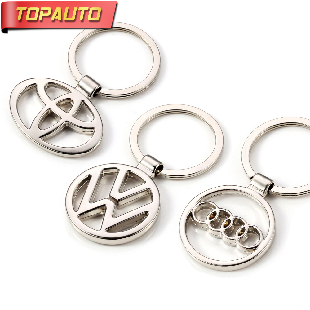 TopAuto Car Keychain Key Ring Pendant Metal Alloy Logo Car Emblem Keyrings For Audi Toyota VW Universal Car Styling Accessories black butler acrylic keychain action figure pendant car key chain key accessories japanese cartoon key ring hzs002 ltx1