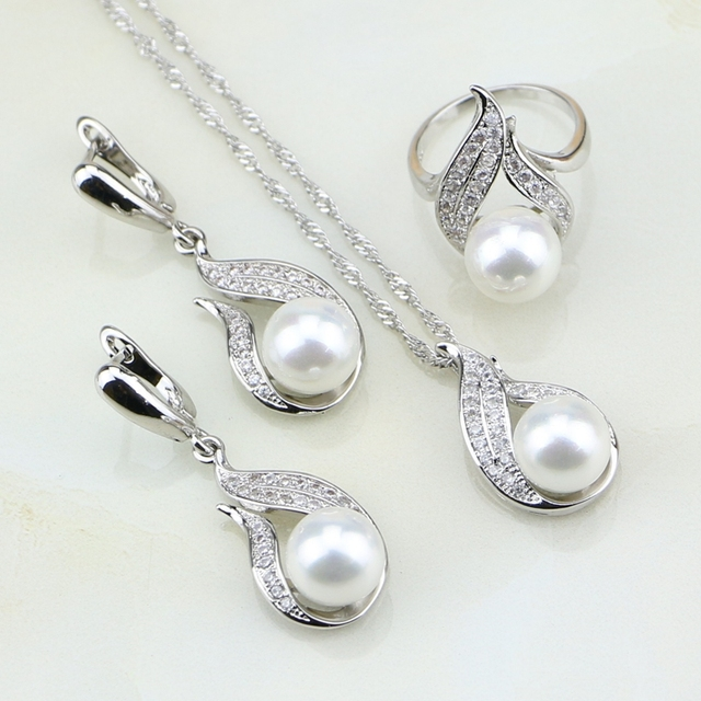 Fire 925 Silver Jewelry White Imitation Pearl Cubic Zirconia Jewelry Set Gift Fo