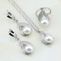Fire 925 Silver Jewelry Imitation Pearl White Cubic Zirconia Jewelry Set Gift For Women Earrings Ring