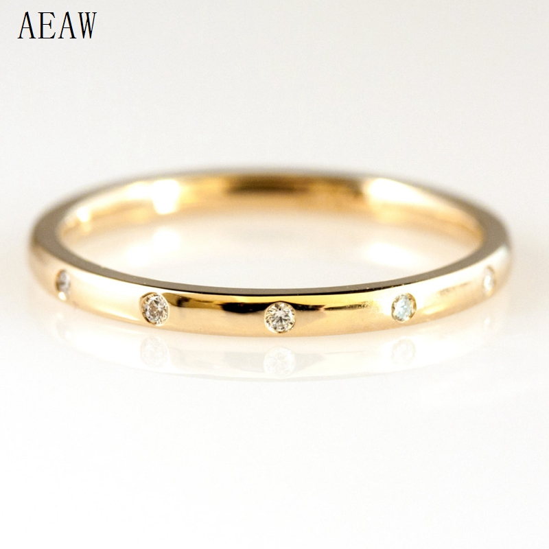 0.05ctw 1.3mm 5-Stones Style Natural Diamond Wedding Band Bezel Setting Round Diadmond Band Ring 14k Yellow Gold