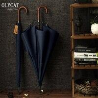 Chegada nova olycat marca longo guarda-chuva 8 k à prova de vento alça de madeira grande guarda-chuvas masculino chuva qualidade clássico negócios paraguas