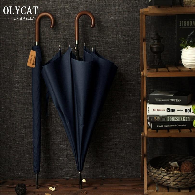 Neue Ankunft OLYCAT Marke Langschirm 8 Karat Winddicht Holzgriff Große Männer Regen Regenschirme Qualität Klassische Business Paraguas
