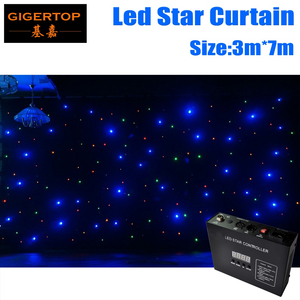 China Stage Lighting 3mx7m Star Led Cloth Good Quality Black/White Flameproof Optional With Zipper F5 RGBW Leds 1 Year Warranty