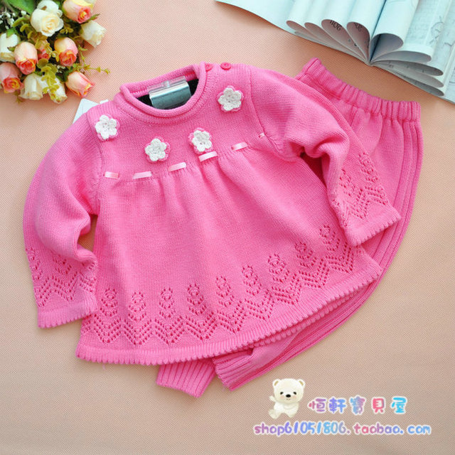 Baby sweater dresses set 2015 autumn female infant 100% cotton embroidered clothing set free shipping