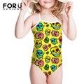 Amarelo Vermelho Colorido Crânio Um Pedaço Swimwear Terno de Natação Para As Crianças 5 T Meninas Beach Wear Badeanzug Maillot De Bain 1 Peça Engraçado
